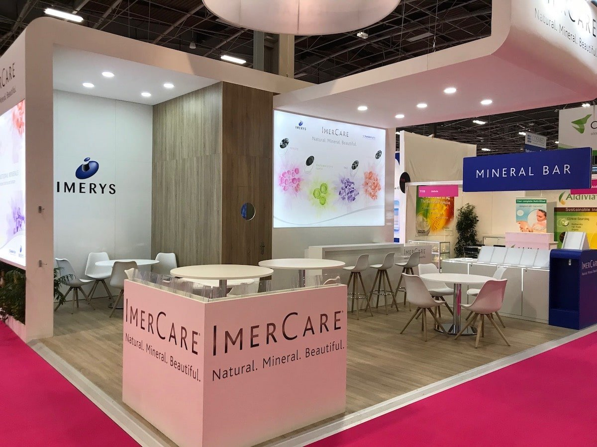 Stand sur-mesure IMERYS au Salon IN-COSMETICS GLOBAL