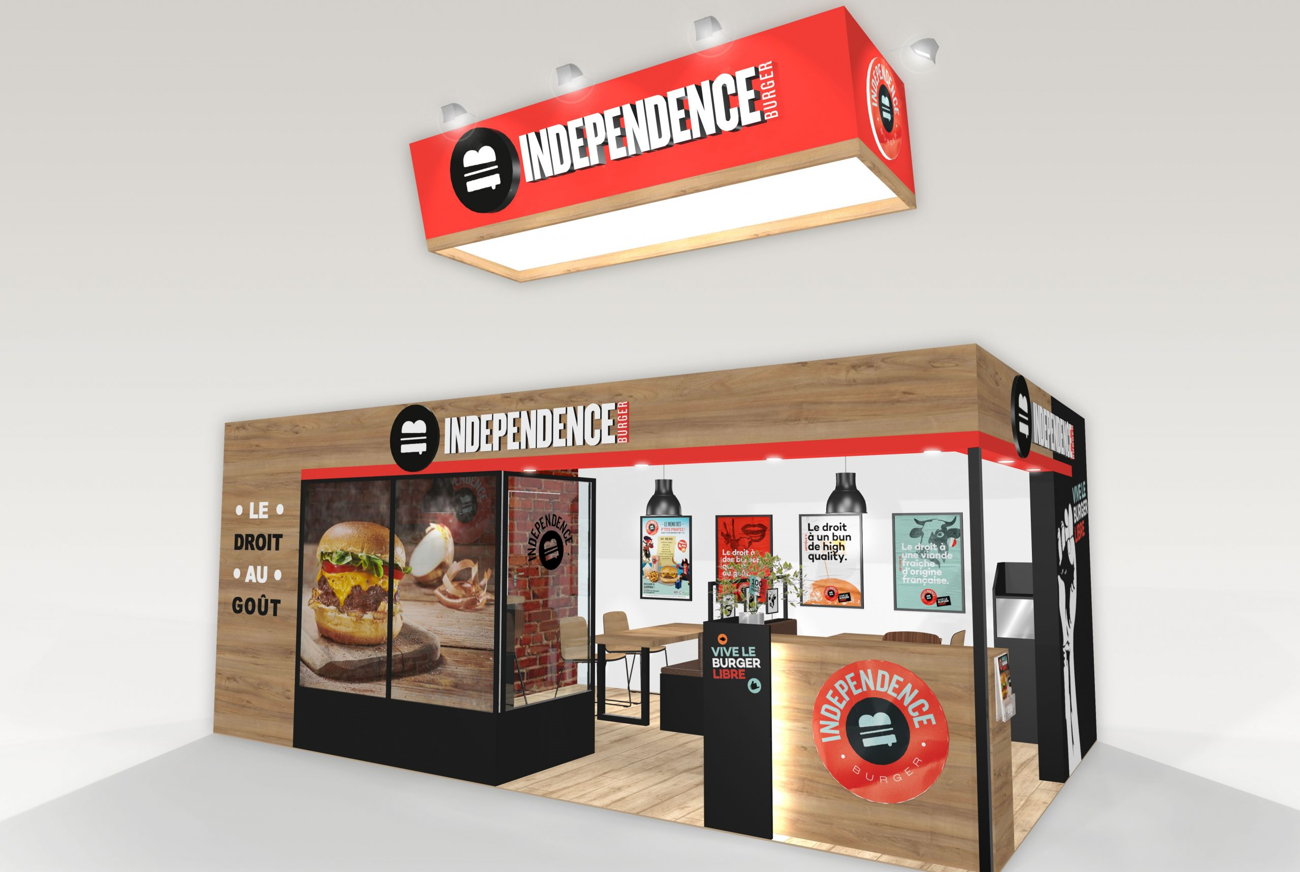 Stand sur-mesure INDEPENDENCE BURGER sur le salon FRANCHISE EXPO