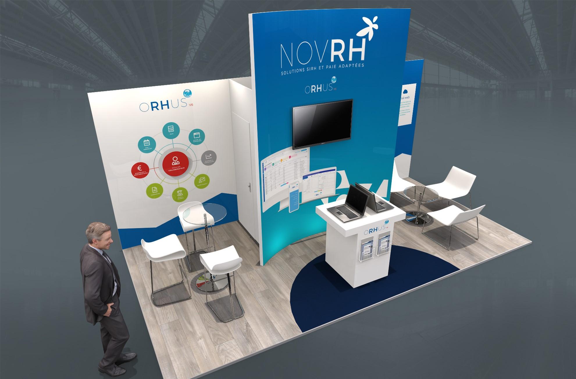 Stand sur-mesure NOV RH sur les salons SOLUTIONS RH, SANTEXPO et H EXPO